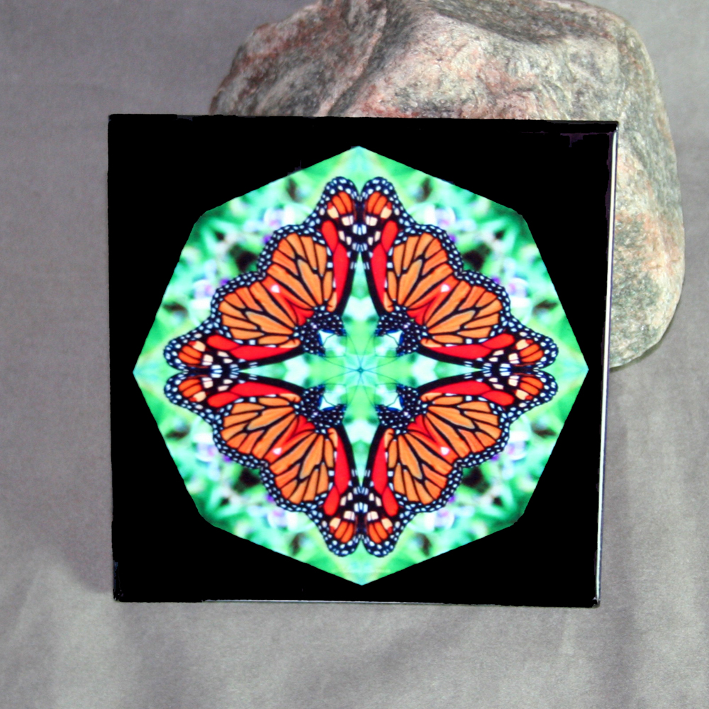 Butterfly Decorative Ceramic Tile Mandala Sacred Geometry Kaleidoscope Jeweled Jubilee