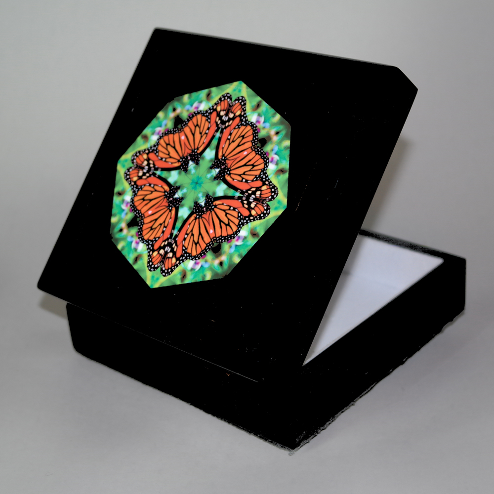 Butterfly Music Box With Ceramic Tile Top Boho Mandala New Age Sacred Geometry Jeweled Jubilee