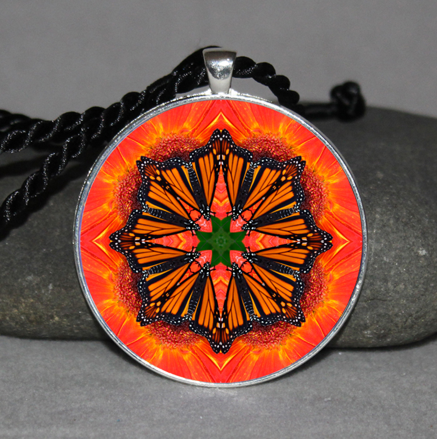 Monarch Butterfly Pendant Necklace Mandala Zen Sacred Geometry Kaleidoscopic Luminous Lifeforce