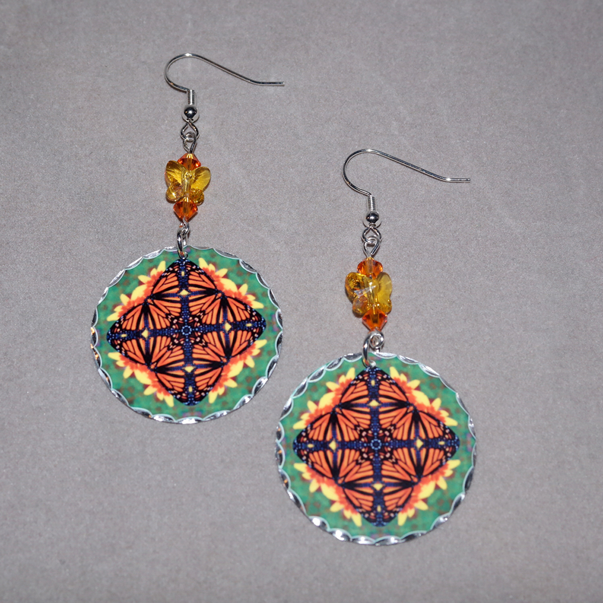 Butterfly Earrings Dangle Boho Chic Mandala New Age Sacred Geometry Hippie Kaleidoscope Masquerade