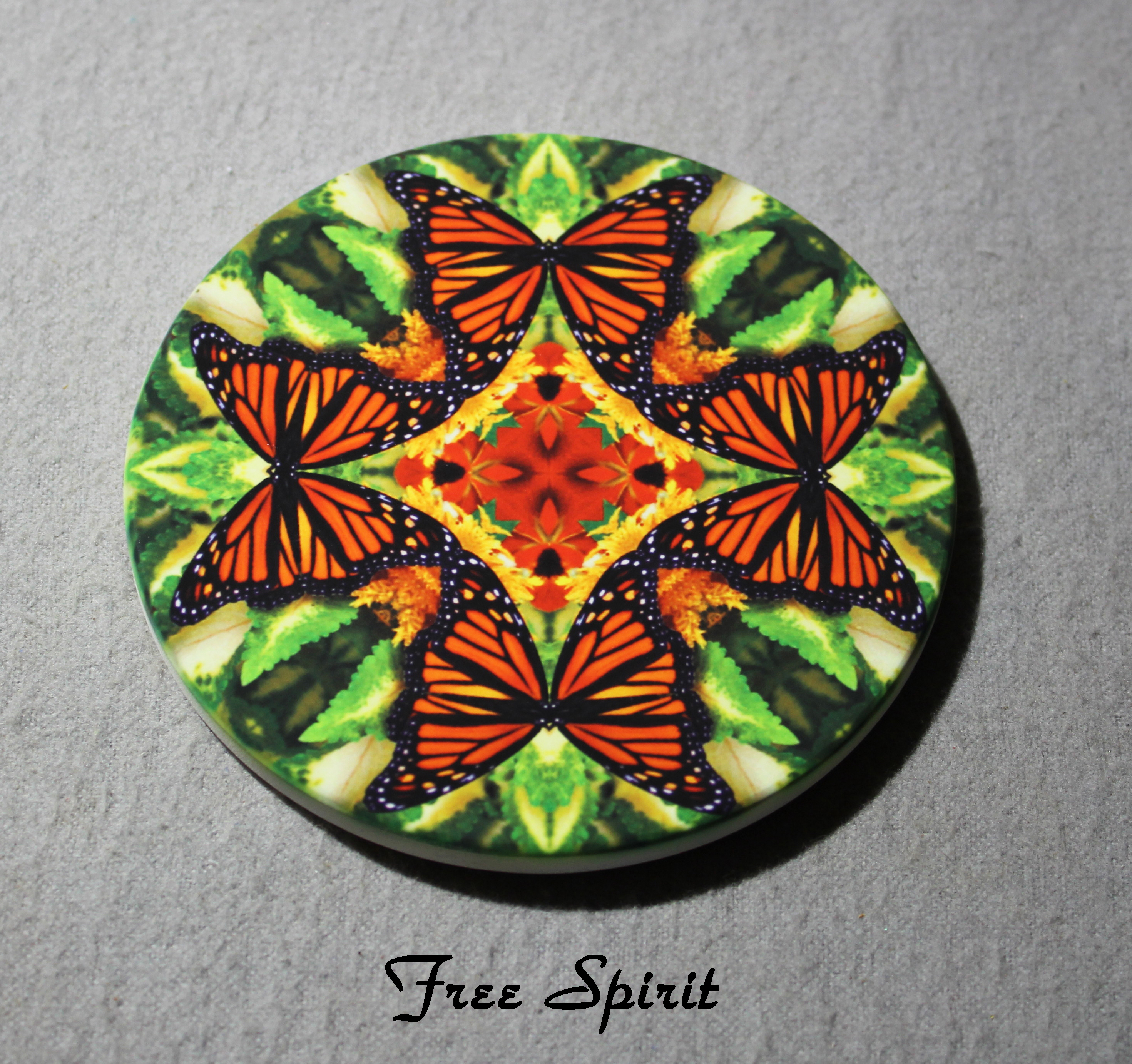 Coaster Drink Sandstone Custom Coasters Monarch Butterfly Nature Decor Free Spirit
