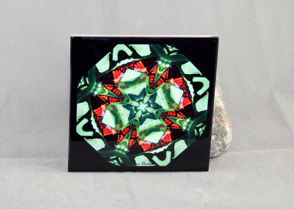 Monarch Butterfly Decorative Ceramic Tile Coaster Sacred Geometry Kaleidoscope Monarch Marvel