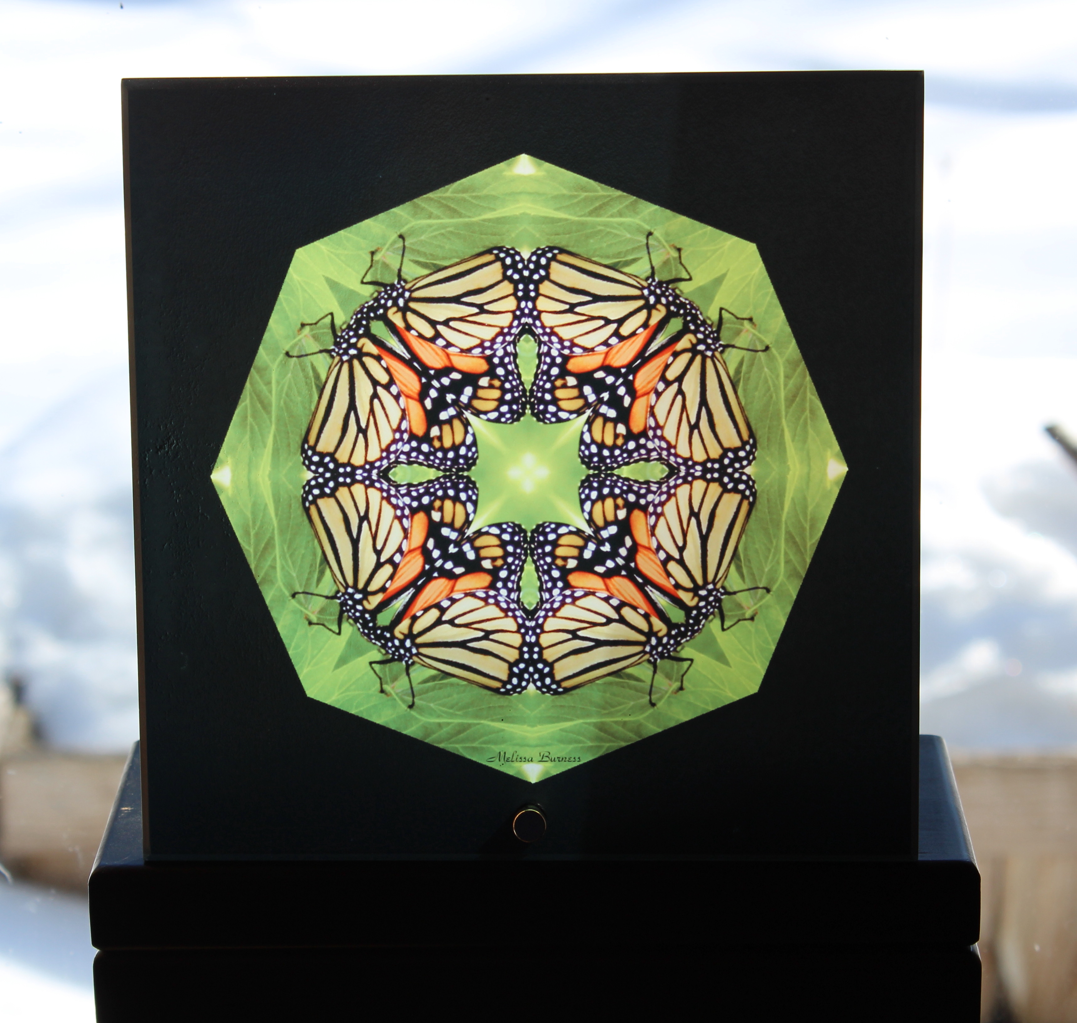 Sale Special Monarch Butterfly Glass Suncatcher Geometric Mandala Kaleidoscope Zen Monarch Melody