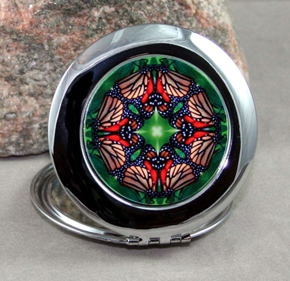 Monarch Butterfly Compact Mirror Sacred Geometry Mandala Kaleidoscope Monarch Melody