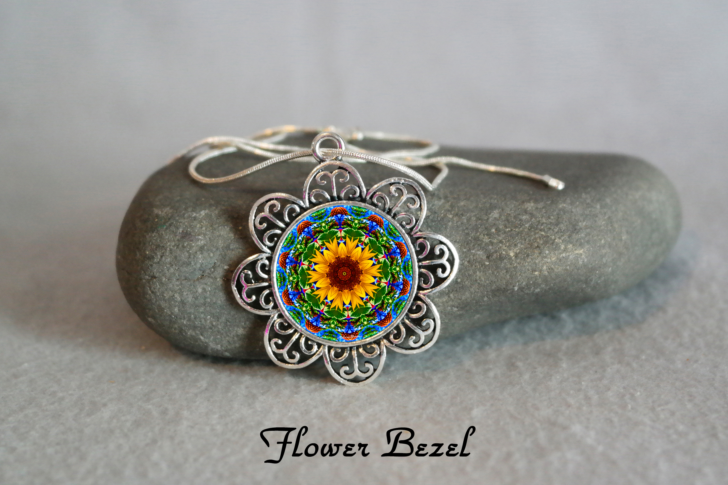 Pendant Necklace Sunflower Mandala Zen Sacred Geometry Everyday Jewelry My Beauty Within