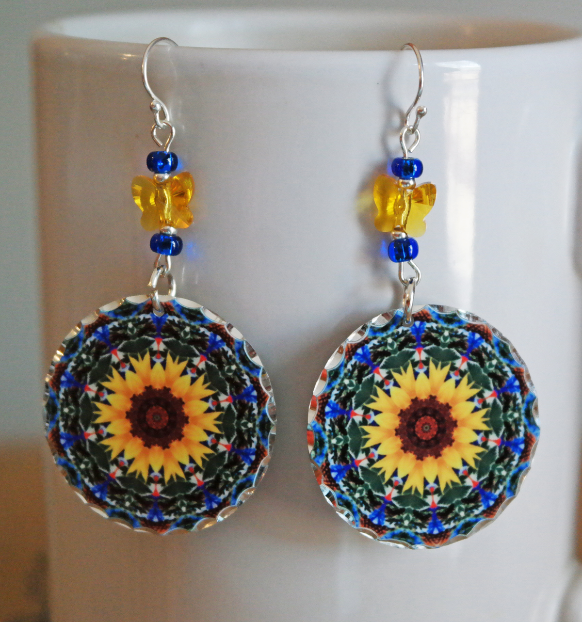 Sunflower Chakra Mandala Earrings Boho Chic Sacred Geometry Zen Hippie Kaleidoscope Gypsy New Age Unique Gift For Her My Beauty Within