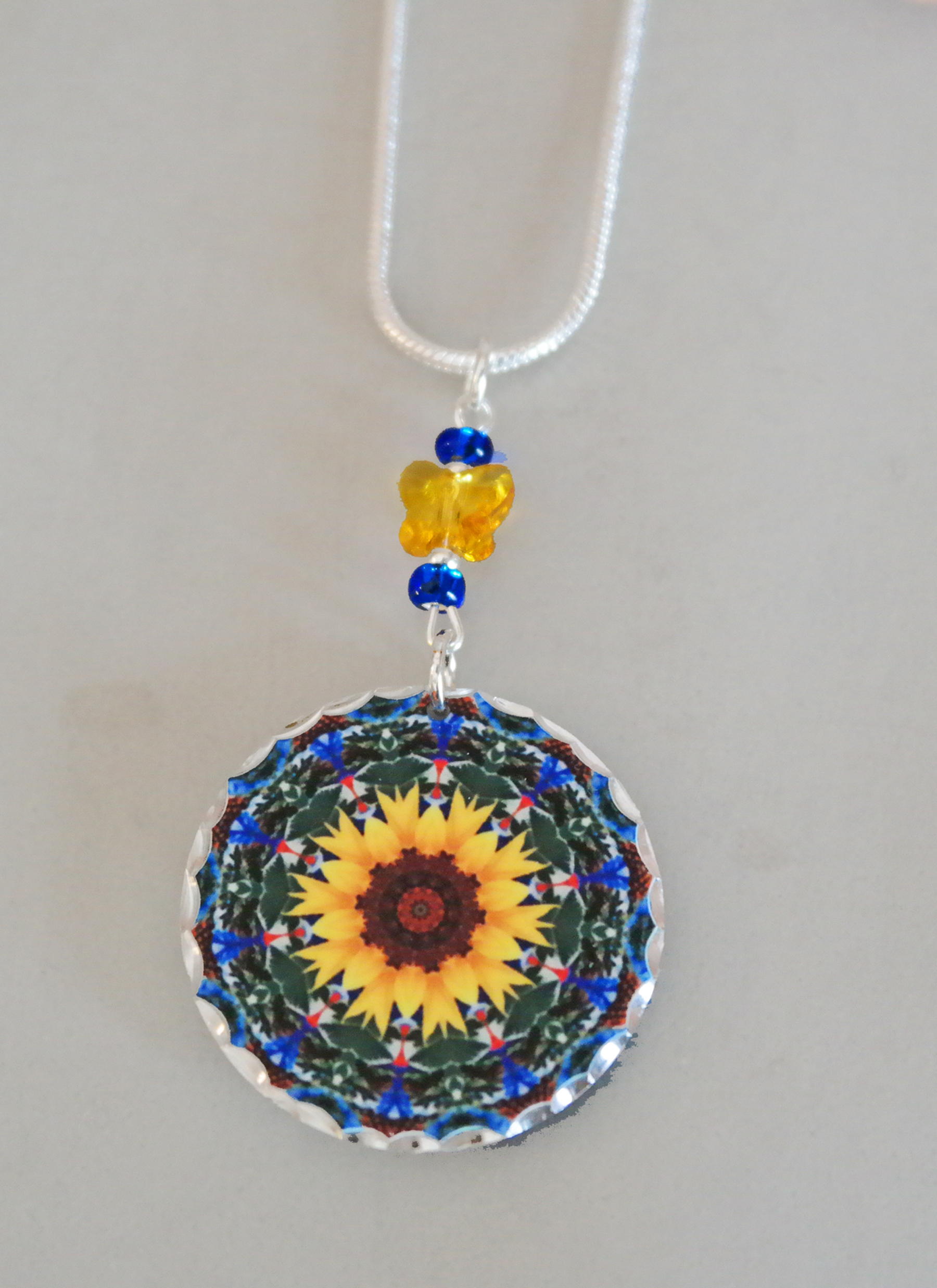 Sunflower Chakra Mandala Pendant Charm Boho Chic New Age Sacred Geometry Hippie Unique Gift For Her Kaleidoscope My Beauty Within