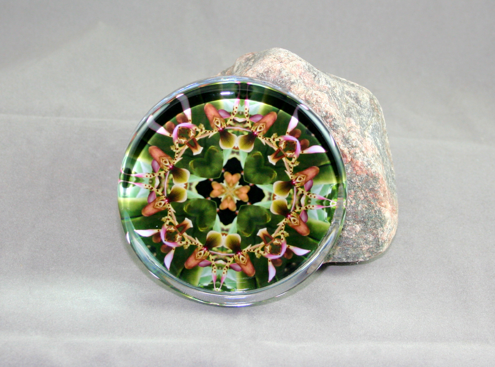 Orchid Glass Paperweight Geometric Mandala My Hearts Desire