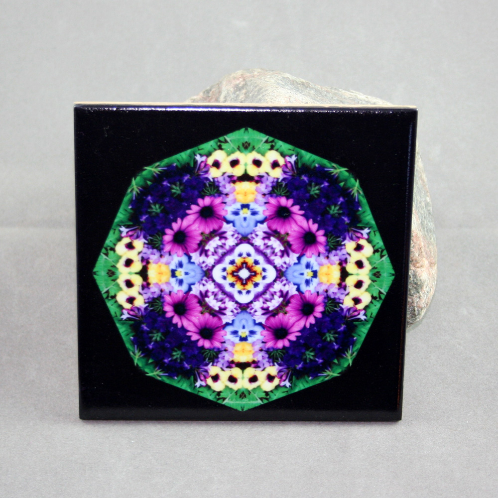 Daisy Decorative Ceramic Tile Sacred Geometry Mandala Kaleidoscope Mystical Musing