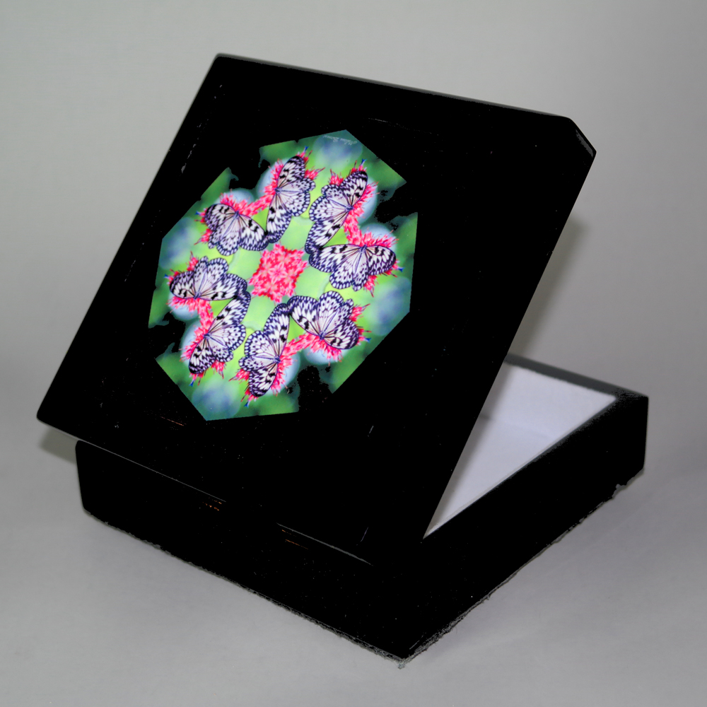Butterfly Music Box With Ceramic Tile Top Boho Mandala New Age Sacred Geometry Nymph Nirvana