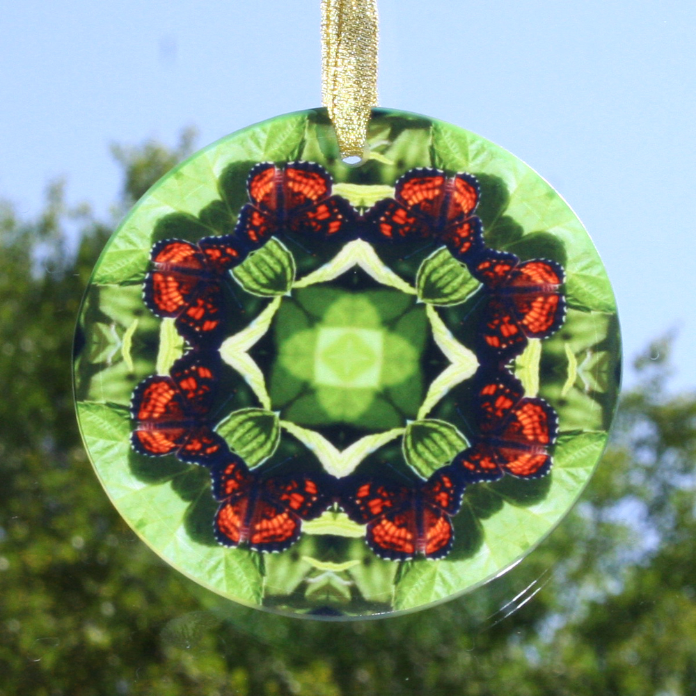Butterfly Suncatcher Glass Mandala Sacred Geometry Kaleidoscope On a Wing and a Prayer