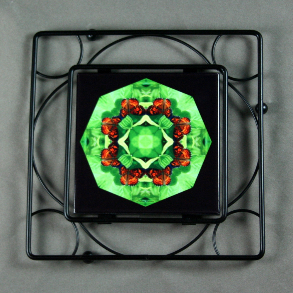 Butterfly Trivet Black Iron Ceramic Tile Mandala Sacred Geometry Kaleidoscope On a Wing and a Prayer