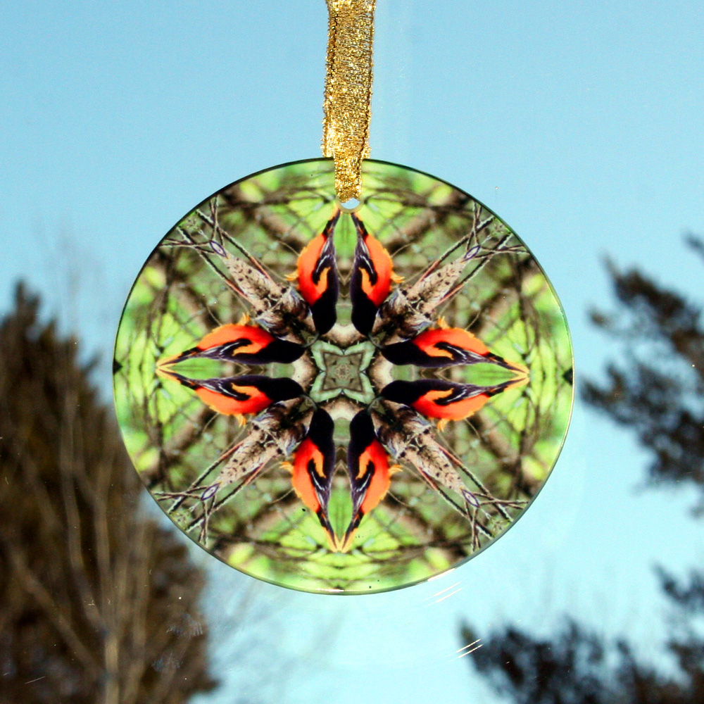 Oriole Glass Suncatcher Geometric Kaleidoscope Mandala Ornament of Orange