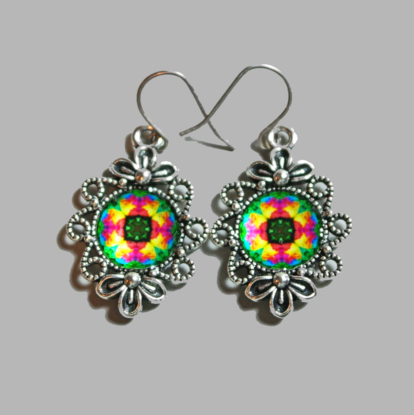 Rainbow Rose Mandala Earrings Flower Bezel Boho Chic Sacred Geometry Hippie Kaleidoscope Gypsy New Age Unique Gift For Her Ornate Opus