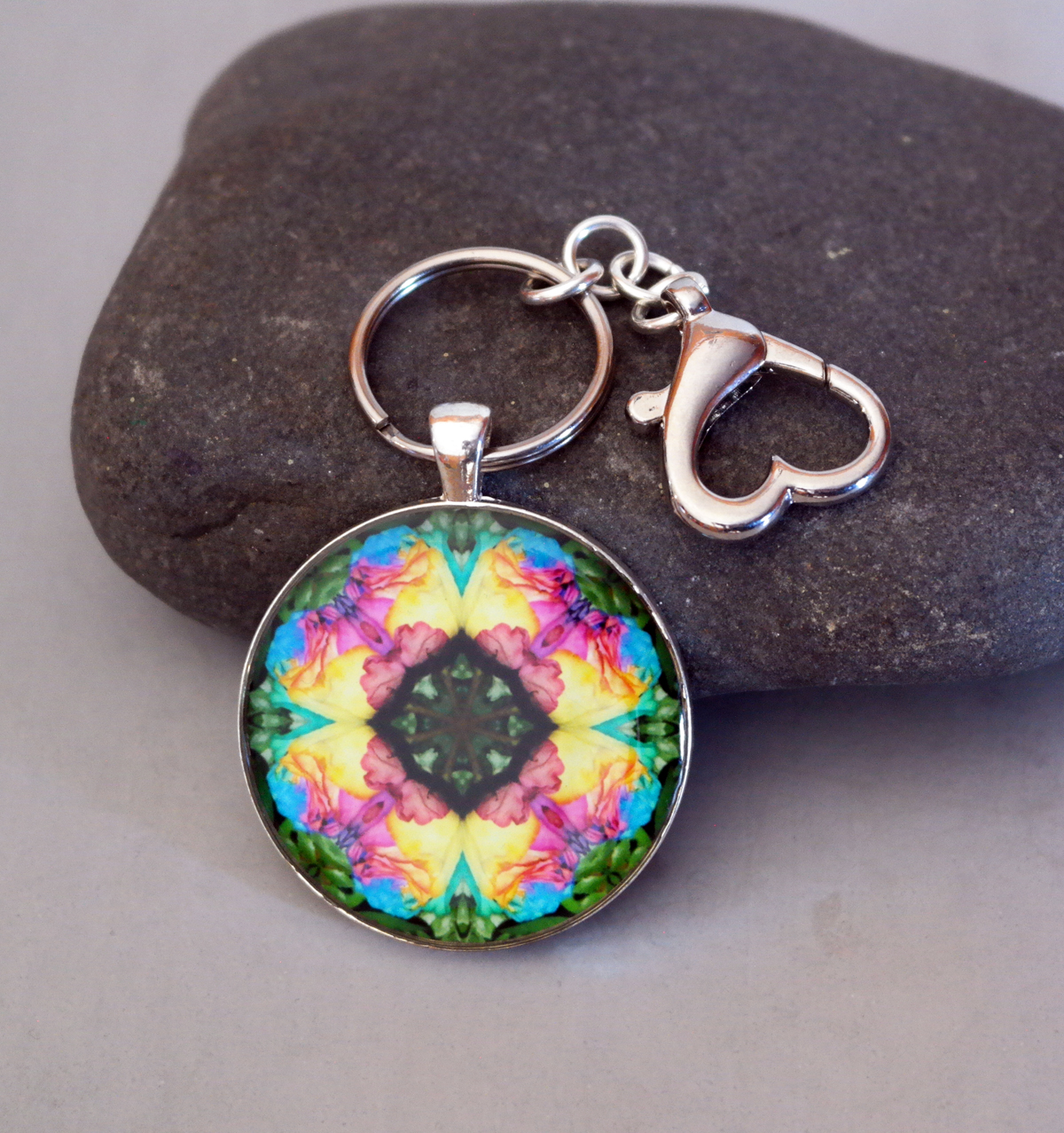 Rose Chakra Purse Charm Keychain Zen Boho Chic Mandala New Age Sacred Geometry Hippie Kaleidoscope Gypsy Unique Gift For Her Ornate Opus