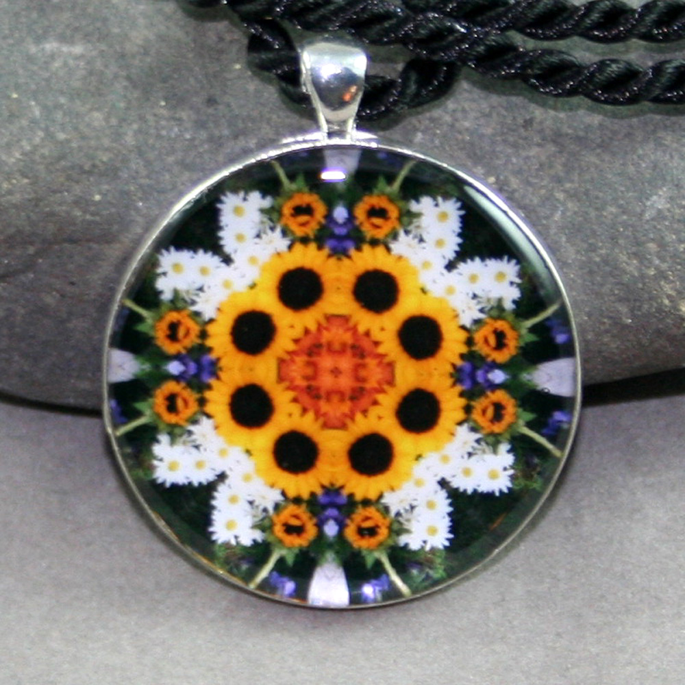 Sunflower Pendant Sacred Geometry Mandala Kaleidoscope Necklace Perpetual Hope