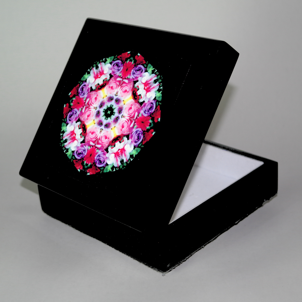 Rose Music Box With Ceramic Tile Top Boho Mandala New Age Sacred Geometry Petals Of Poise