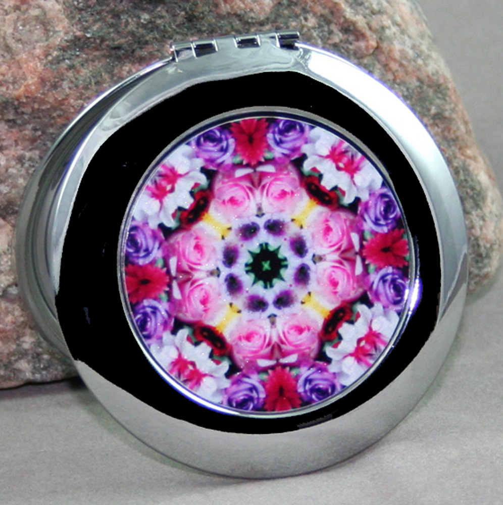 Rose Compact Mirror Sacred Geometry Mandala Kaleidoscope Petals of Poise