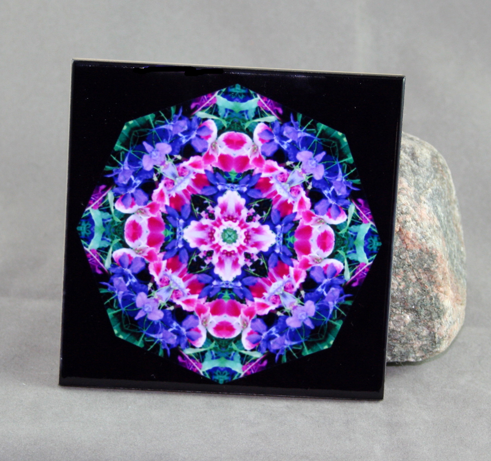 Wildflower Decorative Ceramic Tile Coaster Geometric