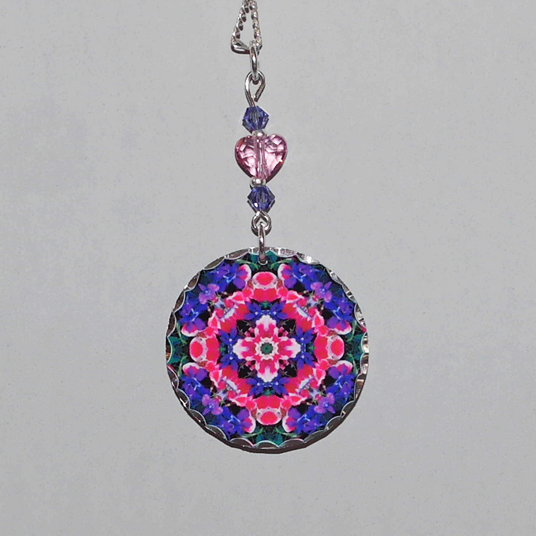 Wildflower Charm Necklace Silver Mandala Sacred Geometry Kaleidoscope Pink Providence