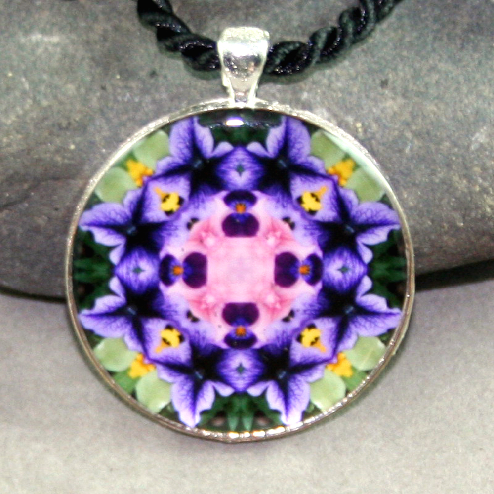 Petunia Pendant Mandala Sacred Geometry Kaleidoscope Necklace Purple Passion