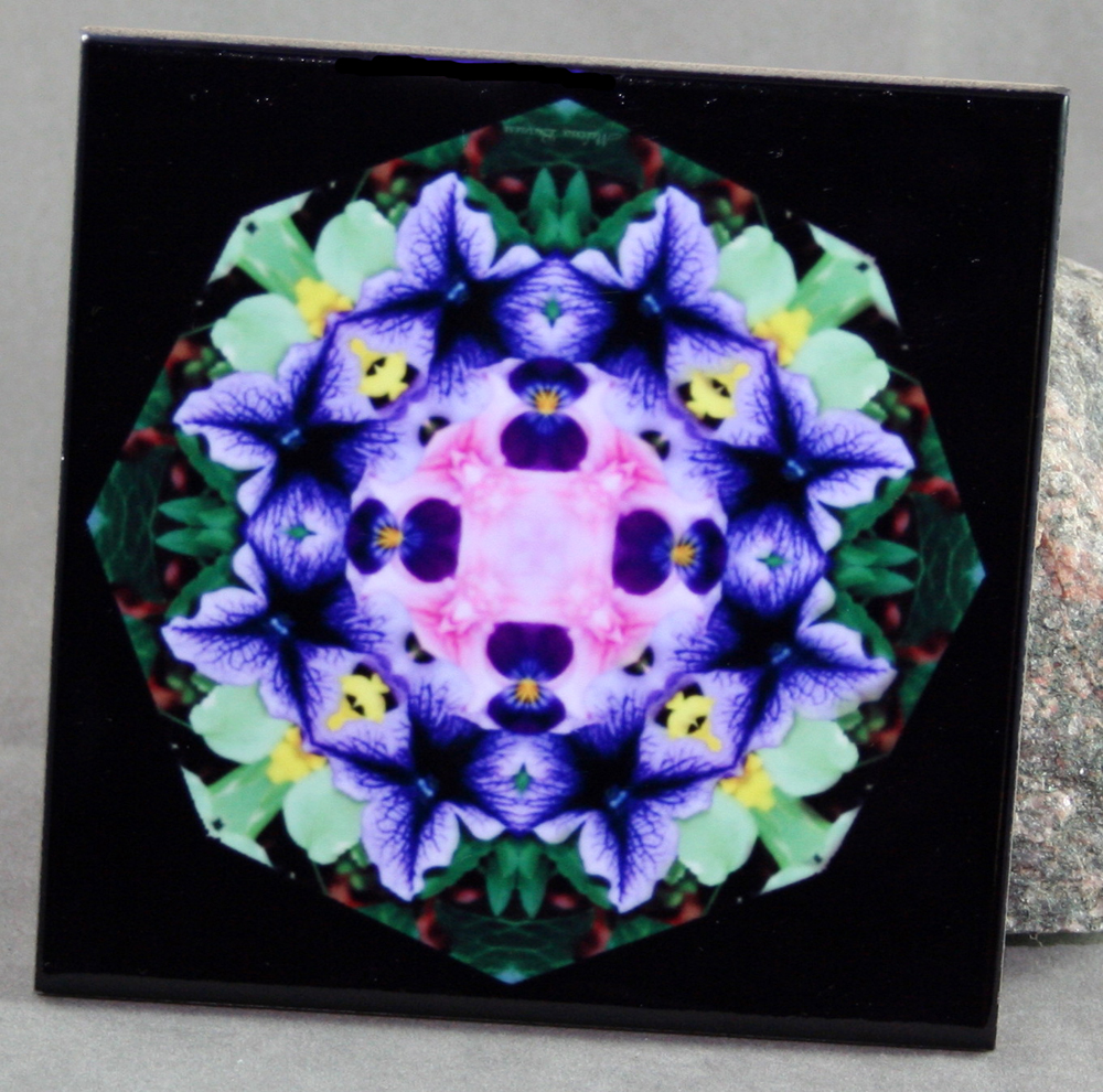 Petunia Carnation Decorative Ceramic Tile Coaster Trivet Geometric Kaleidoscope Purple Passion