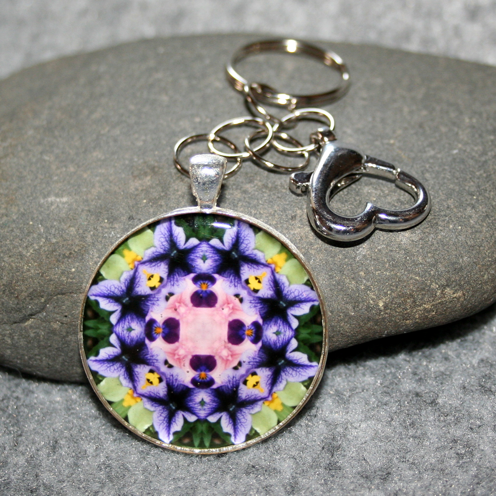 Petunia Key Chain Sacred Geometry Mandala Purple Passion