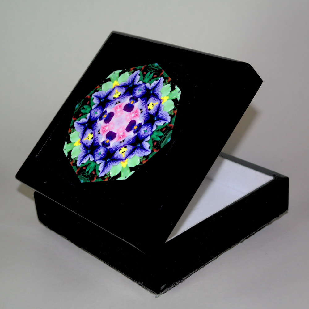 Petunia Music Box Keepsake Box Boho Chic Mandala New Age Sacred Geometry Hippie Kaleidoscope Purple Passion