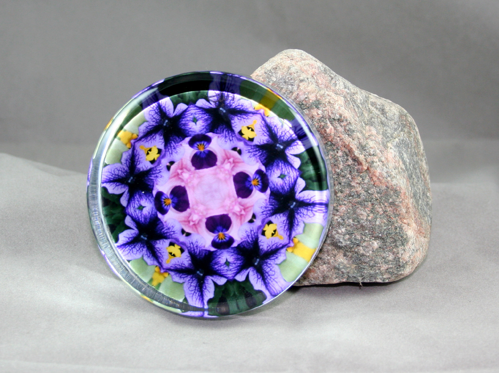 Petunia Carnation Glass Paperweight Kaleidoscope Mandala Geometric Purple Passion