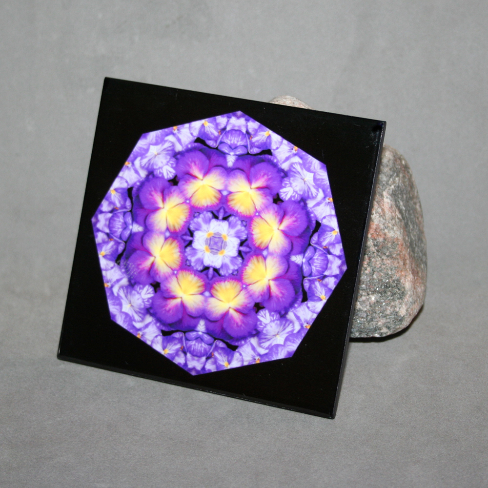 Pansy Ceramic Tile Boho Chic Mandala New Age Sacred Geometry Hippie Kaleidoscope Purple Prose