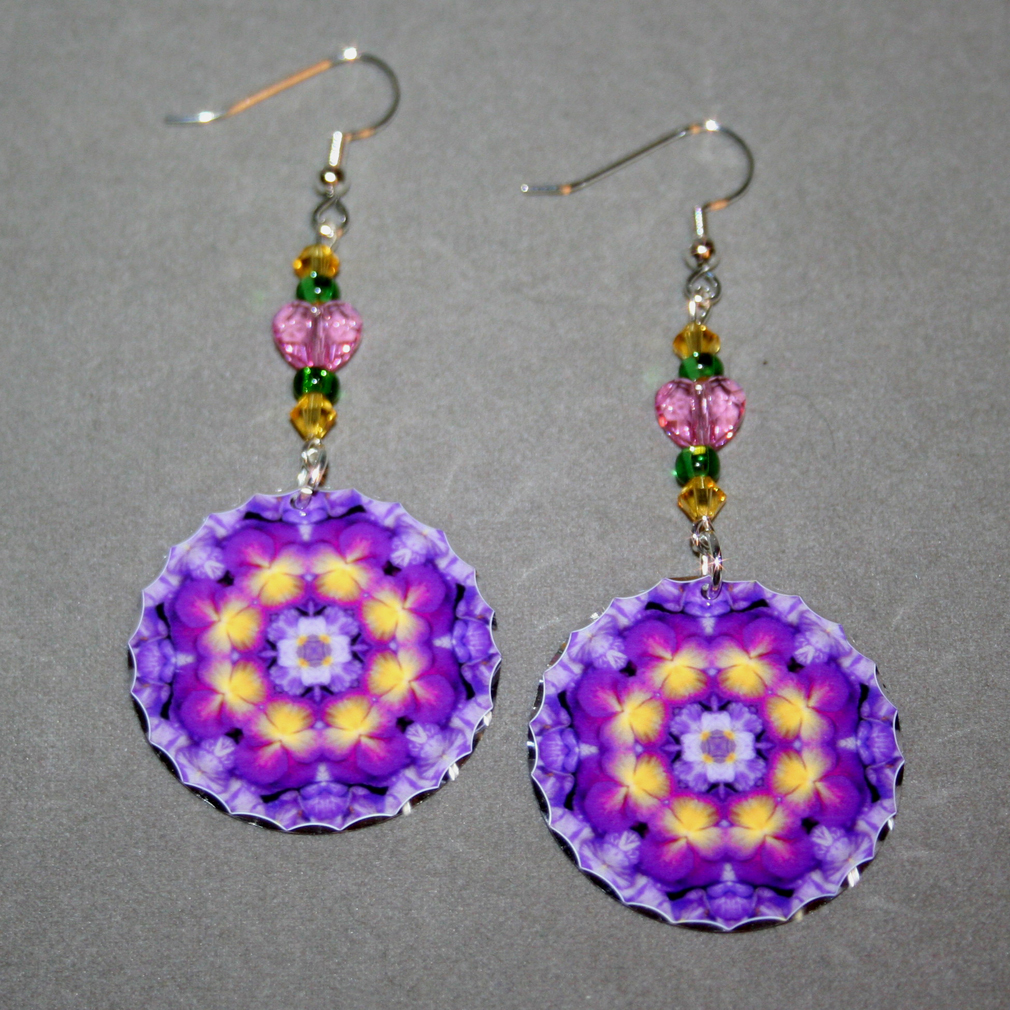 Pansy Earrings Dangle Boho Chic Mandala New Age Sacred Geometry Hippie Kaleidoscope Purple Prose