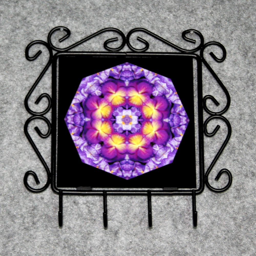 Pansy Organizer Rack Jewelry Rack Key Rack Utensil Rack Boho Chic New Age Sacred Geometry Kaleidoscope Purple Prose