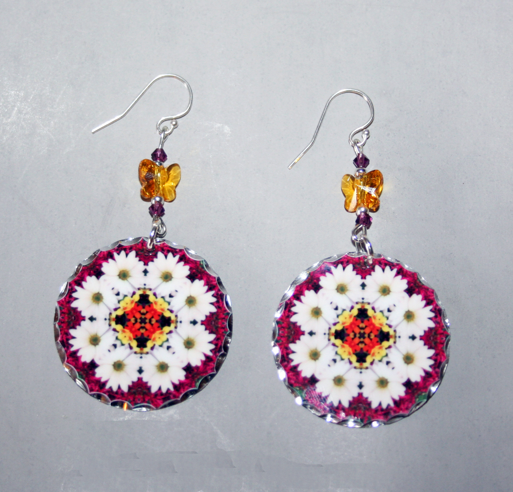 Daisy Earrings Dangle Boho Chic Mandala New Age Sacred Geometry Hippie Kaleidoscopic Reflections Of A Virtuous Love