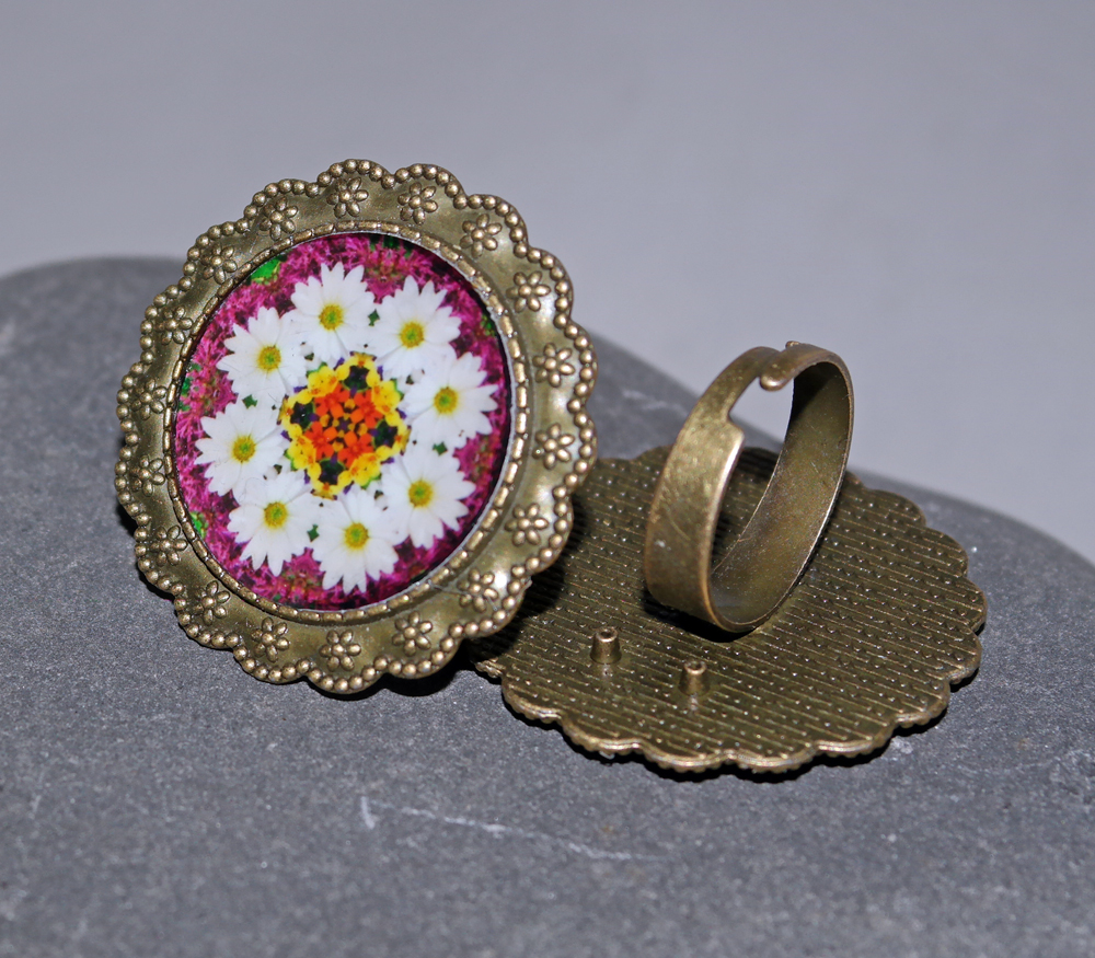 Daisy Ring Adjustable Boho Chic Mandala New Age Sacred Geometry Kaleidoscope Reflections Of A Virtuous Love