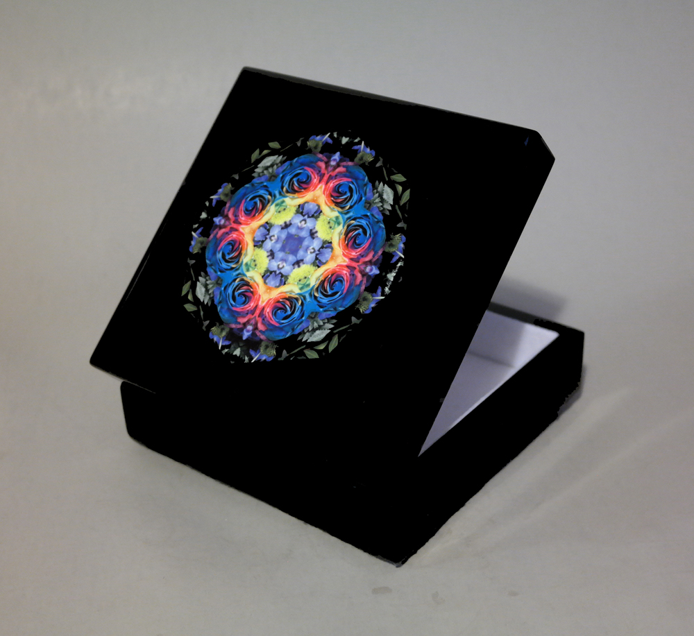 Rainbow Rose Music Box Keepsake Box Trinket Box Jewelry Box Boho Chic Mandala New Age Sacred Geometry Hippie Kaleidoscope Unique Gift For Her The Spectrum Of An Open Heart