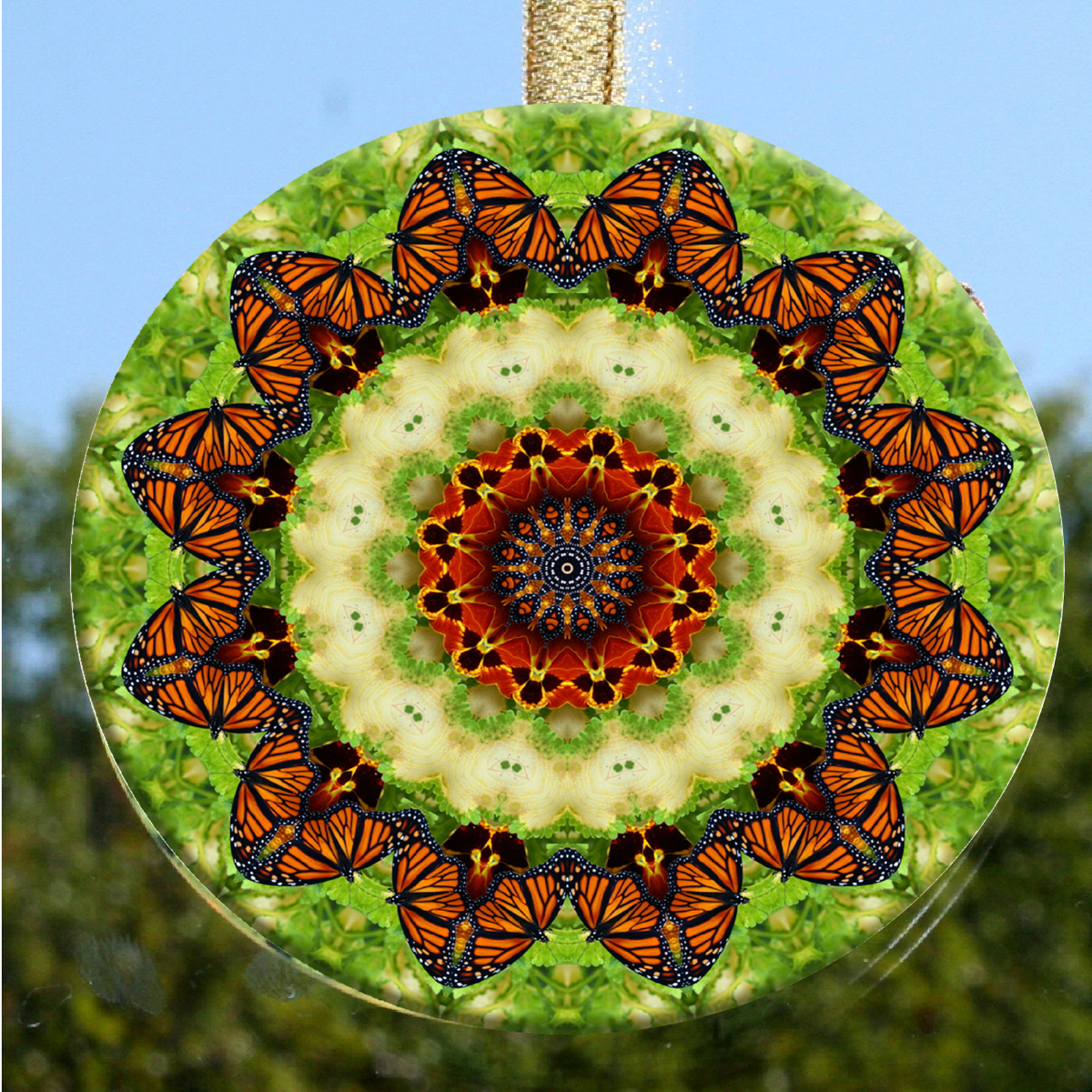 Glass Suncatcher Monarch Butterfly Mandala Zen Sacred Geometry Unique Gift For Her Reminiscing Of A Timeless Love