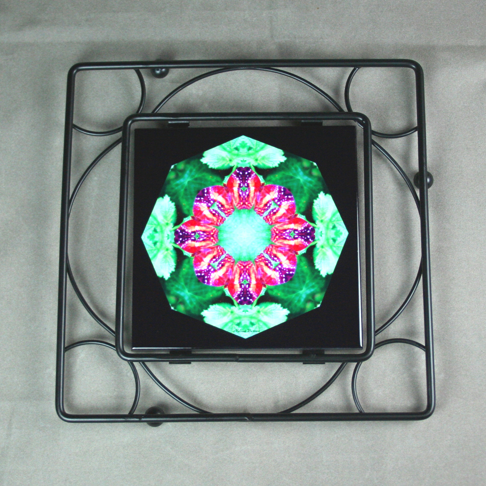 Butterfly Trivet Black Iron Ceramic Tile Mandala Sacred Geometry Kaleidoscope Romantic Renaissance