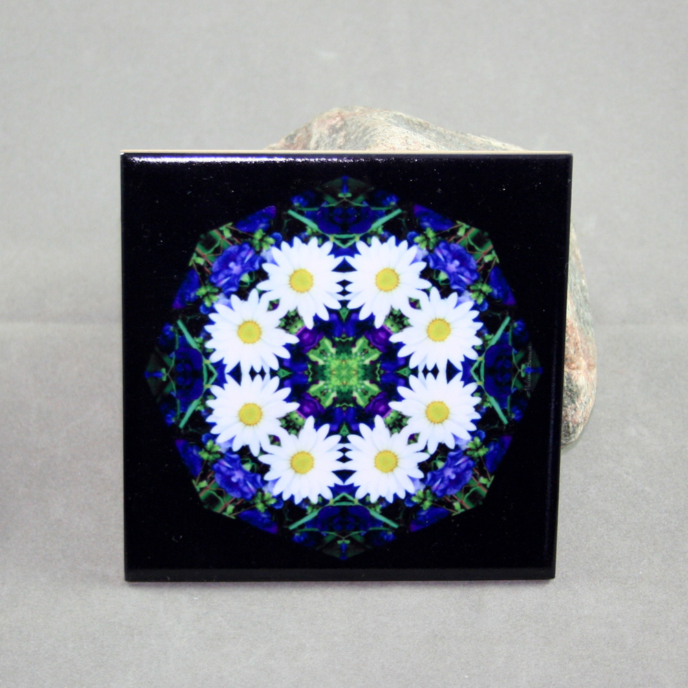 Daisy Decorative Ceramic Tile Sacred Geometry Mandala Kaleidoscope Secret Desire