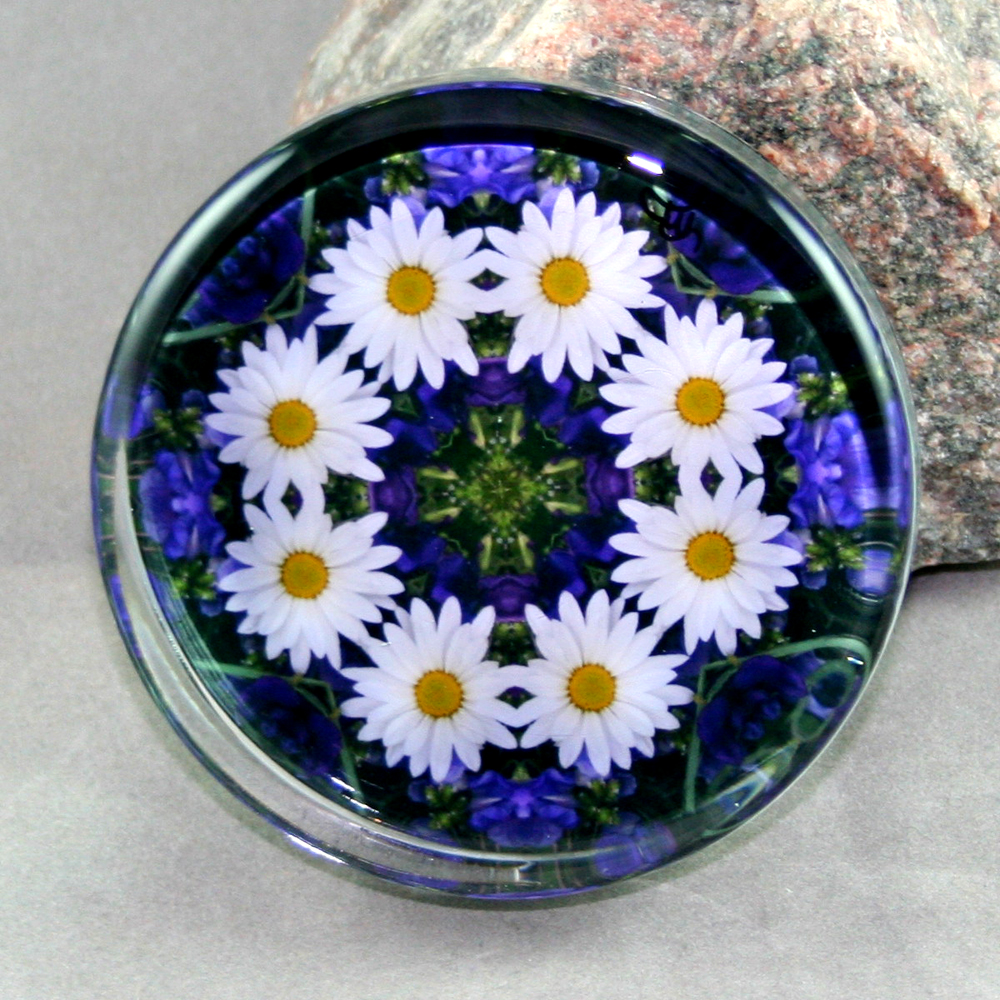 Daisy Glass Paperweight Sacred Geometry Mandala Kaleidoscope Secret Desire