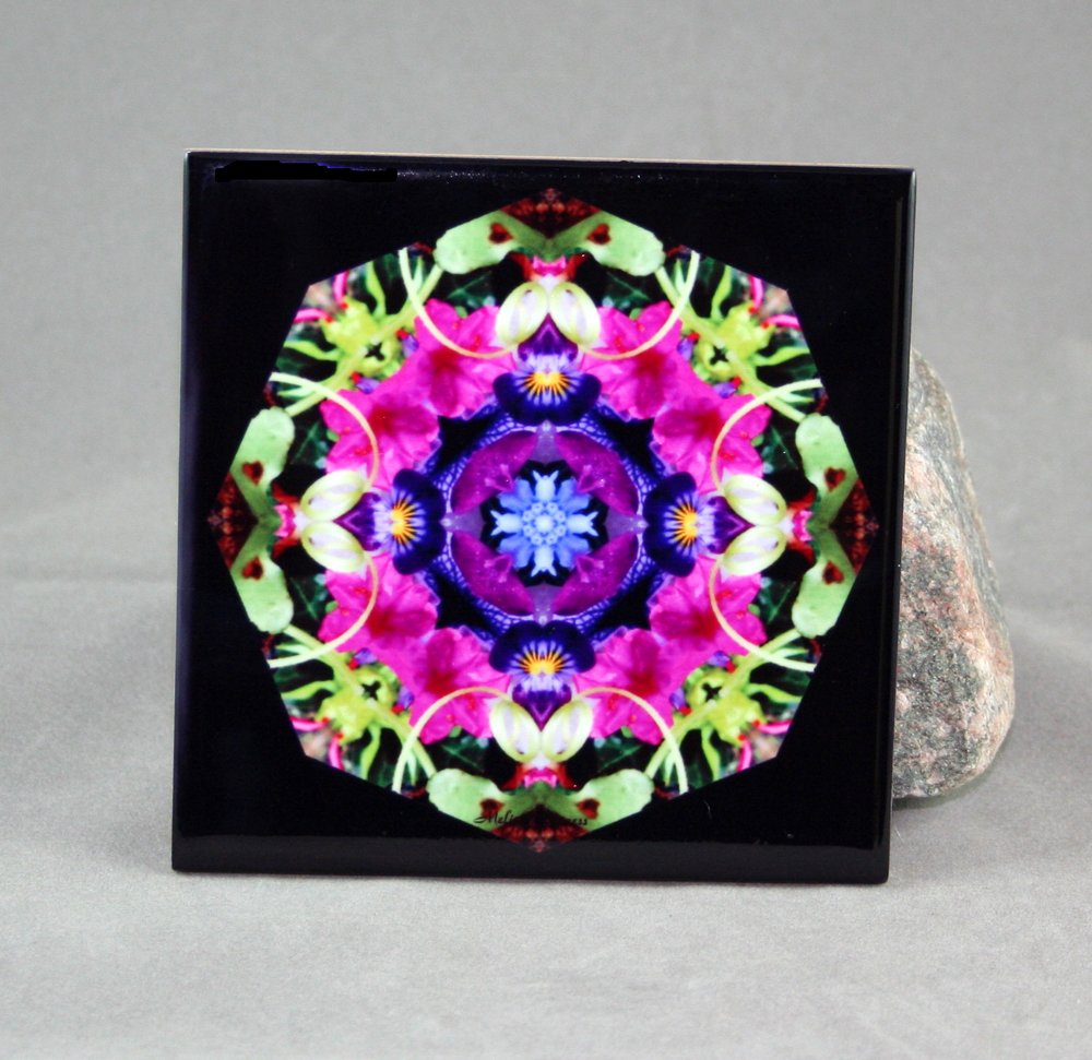 Petunia & Forget-Me-Not Decorative Ceramic Tile Coaster Trivet Kaleidoscope Geometric Serendipity