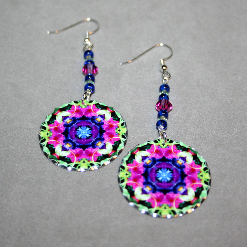 Petunia Earrings Silver Mandala Sacred Geometry Kaleidoscope Serendipity