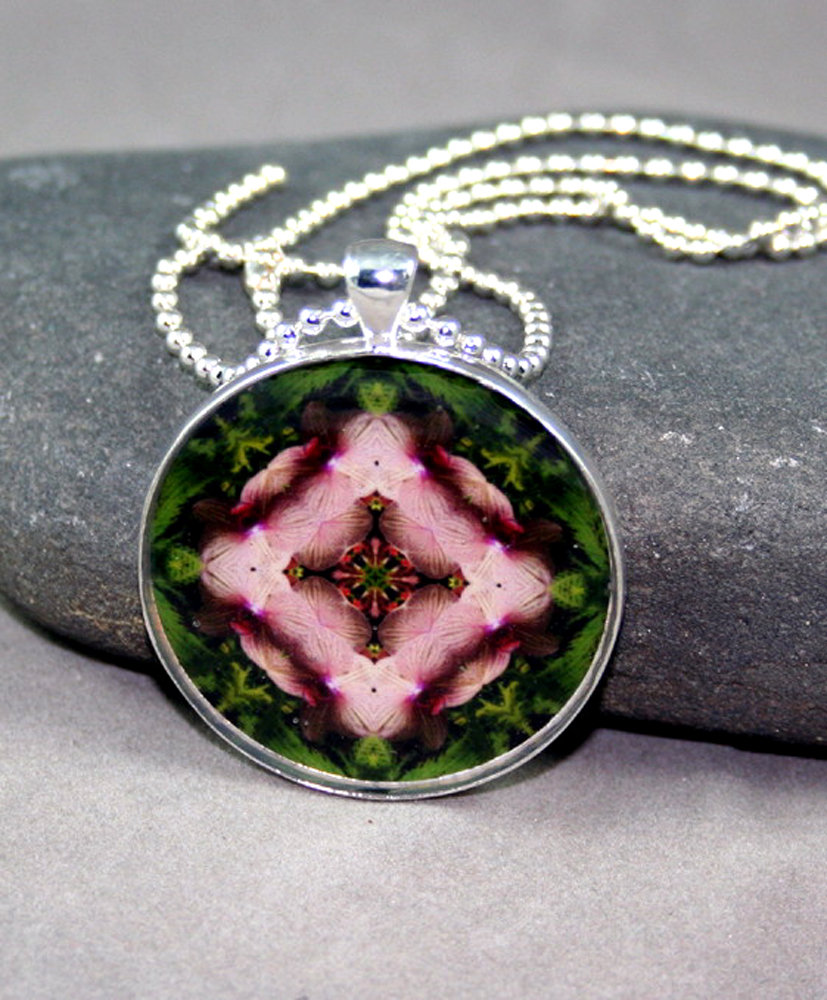 Orchid Necklace Geometric Kaleidoscope Mandala Simple Serenity