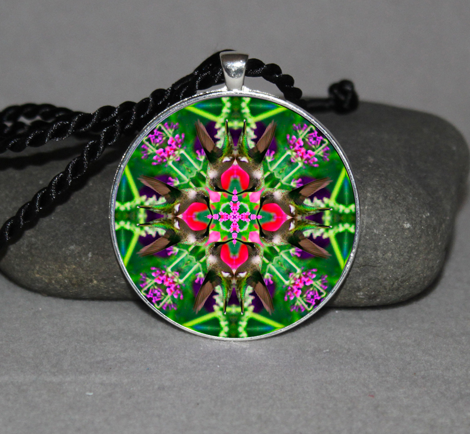 Hummingbird Pendant Necklace Mandala Zen Kaleidoscopic Spirited Sprite