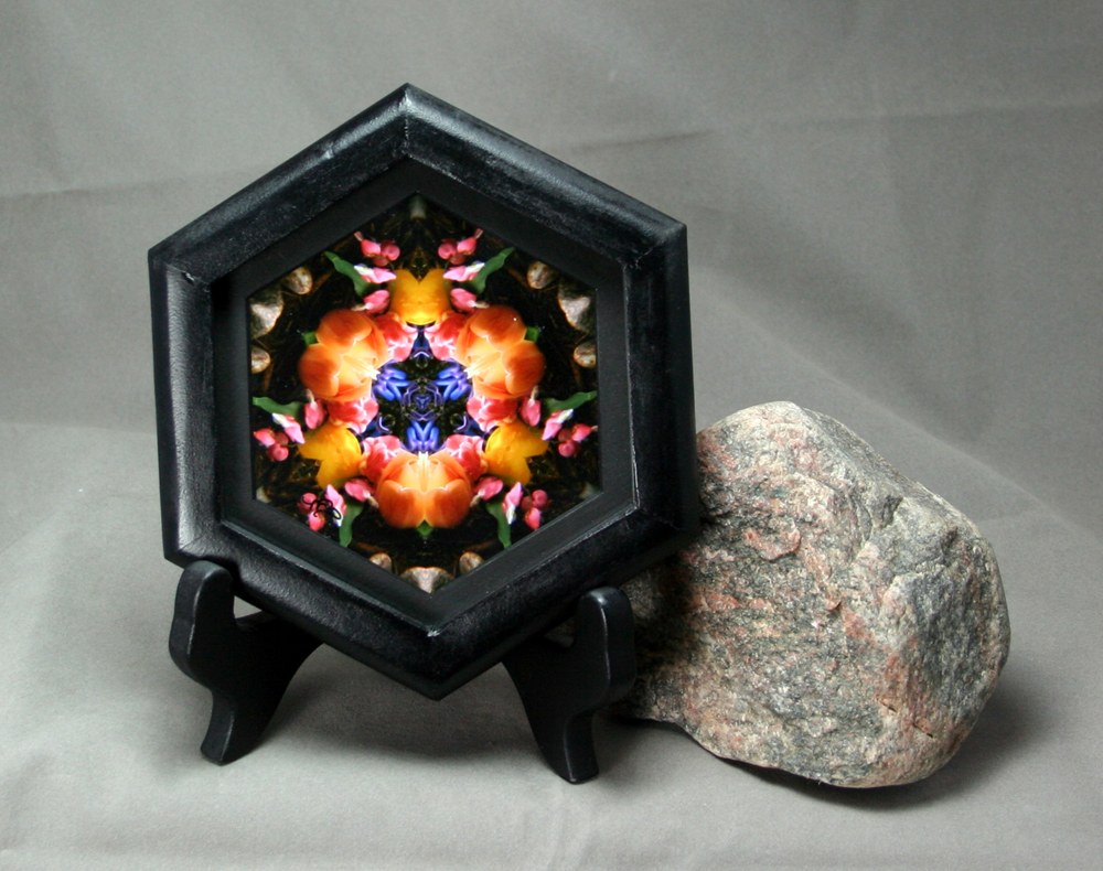 Tulip & Hyacinth Framed Photograph Sacred Geometry Kaleidoscope Spring Fling