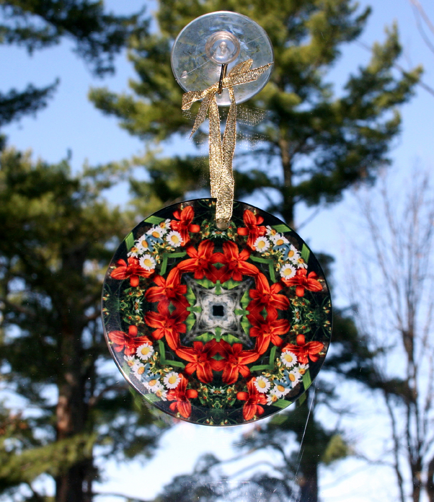 Lily & Daisy Glass Suncatcher Geometric Kaleidoscope Mandala Summer Dreams
