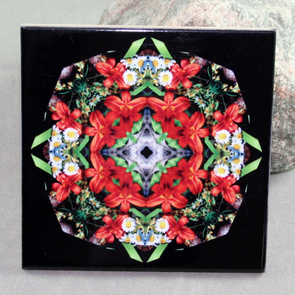 Lily Decorative Ceramic Tile Sacred Geometry Mandala Kaleidoscope Summer Dreams
