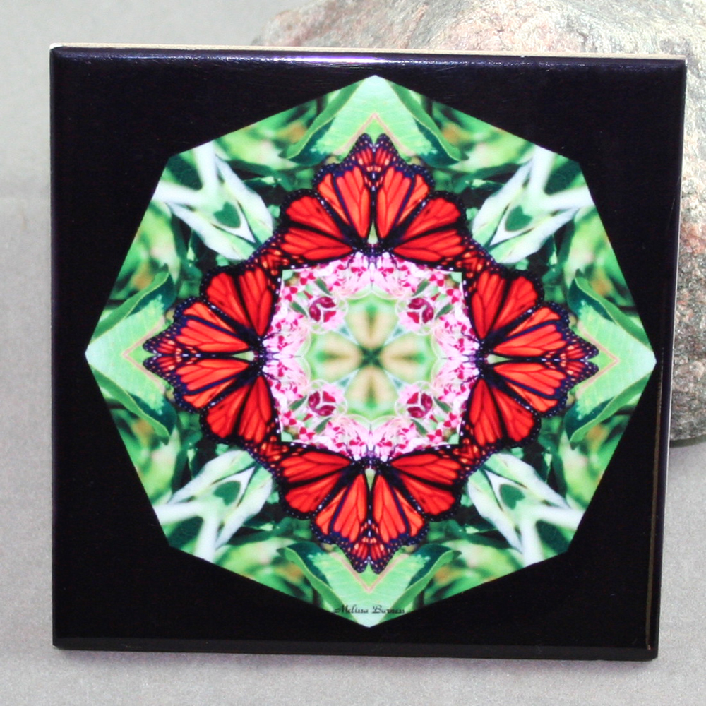 Monarch Butterfly Decorative Ceramic Tile Coaster Sacred Geometry Kaleidoscope Summer Sensation