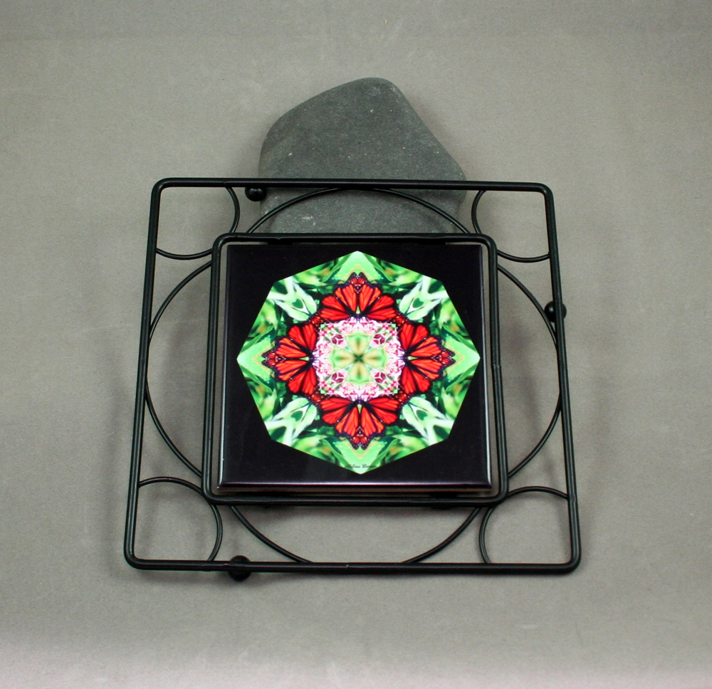 Butterfly Black Iron Ceramic Tile Trivet Sacred Geometry Mandala Kaleidoscope Summer Sensation