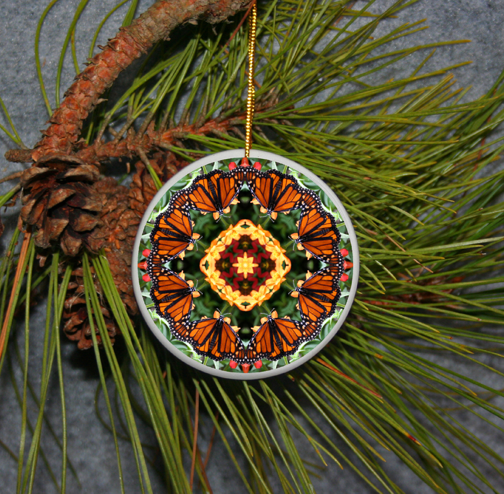 Ornament Christmas Ceramic Monarch Butterfly Mandala All Occasion Sacred Geometry Kaleidoscope Boho Chic New Age Bohemian Modern Unique Summer Solace