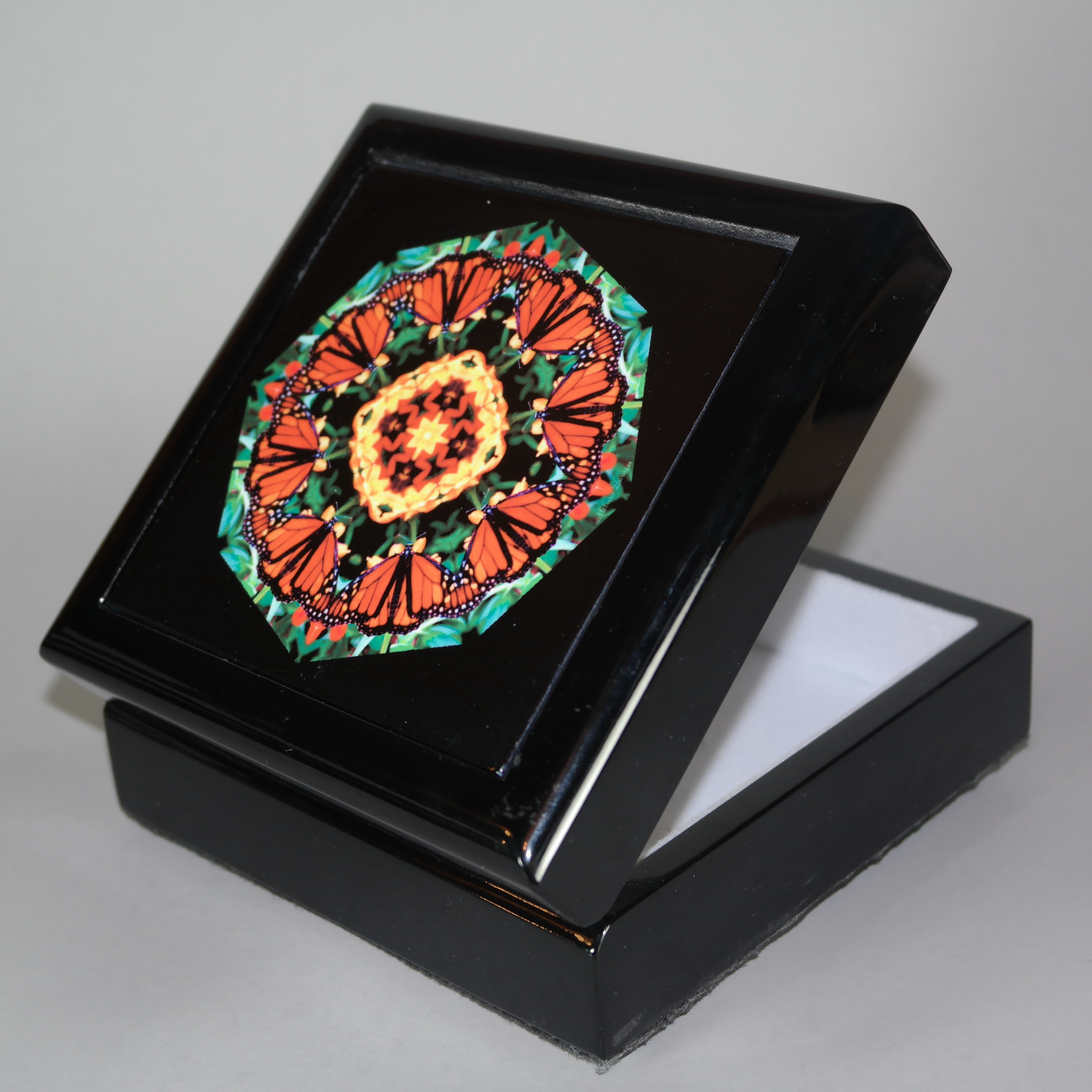 Butterfly Music Box With Ceramic Tile Top Boho Mandala New Age Sacred Geometry Summer Solace